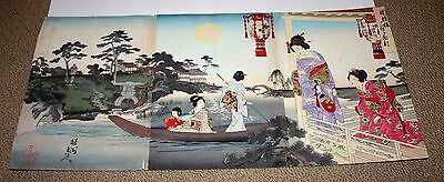 "Antique Japanese Woodblock Prints~ ""moon Viewing"" ~3 Prints~Triptych~1892! Nr!"