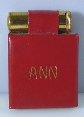 Vintage Rex Fifth Avenue Mirror Compact Lipstick Holder Red Leather Gold Ann
