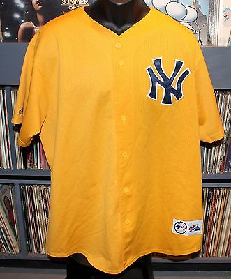 Authentic NEW YORK YANKEES Button Down JERSEY XL Yellow Short Sleeve MLB EX NY