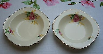 VINTAGE 1930s Art Deco 2 ALFRED MEAKIN DESSERT BOWLS Pink & Yellow Floral Gilded