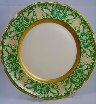 Antique Rosenthal Selb Germany Gilded Porcelain Dinner Plates Green Lot of Four