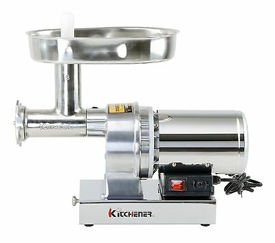 Kitchener #12 Commercial Grade Electric Stainless Steel Meat Grinder 3/4 HP (...