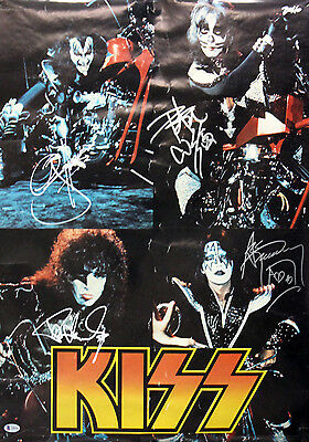 KISS (4) Simmons, Stanley, Frehley & Criss Authentic Signed 20x28 Poster BAS