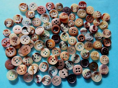 100 BROWN TONE COLOURED  BUTTONS...New & Used...8mm up to 1.2cm...SMALL