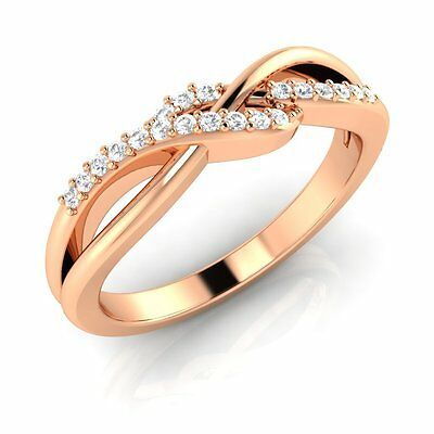 Rose Gold Plated 925 Sterling Silver Infinity CZ Wedding Band Women's Ring