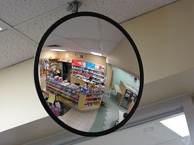 New 45cm Black Indoor Convex Security Safety Mirror Unbreakable Wide Angle