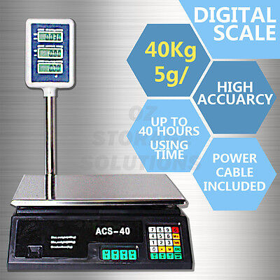 1x New 5g/40kg Electronic Computing Platform Digital Scale Weight Shop Postal