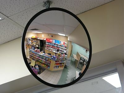 New 60cm Black Indoor Convex Security Safety Mirror Unbreakable Wide Angle