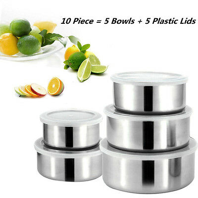 5PCS/Lot Kitchen Home Mixing Stainless Steel 5 Storage Bowl Set with Plastic Lid
