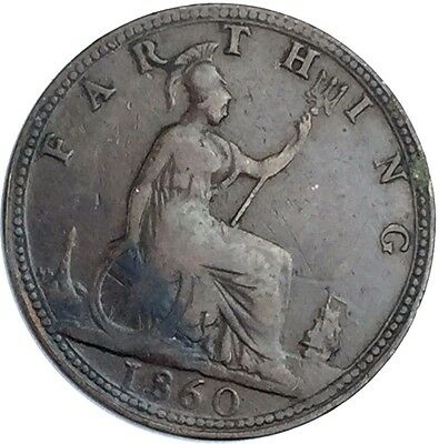 1860 Great Britain (UK) Farthing - VF Very Fine Coin Beaded Border   65-27Z