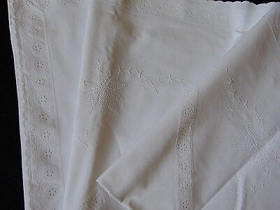 Vintage White Cotton Embroidery Anglais Embroidered European Pillowcase 76.5X72