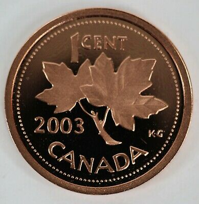 2003 Canada 1 Cent Proof Penny Heavy Cameo Coin