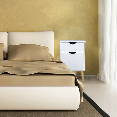White Bedside With 2 Drawers Wood Home Cabinet Side Table Nightstand Storage