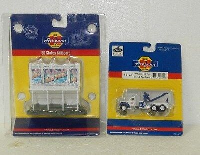 2 x Athearn N Scale Road Accessories (Tow Truck & Billboard)