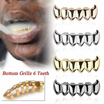 Bottom Teeth Grills 14k Silver Gold Plated Top 8 Bottom 6 Tooth Hip Hop MG