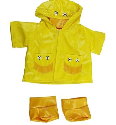 "Yellow Duck Raincoat & Boots outfit teddy bear clothes fits 15"" Build a Bear"