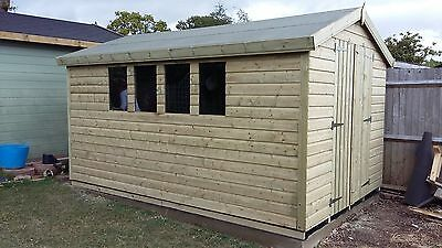 12 x 8 19mm Tanalised & Pressure Treated T&G Apex Shed, Garden Shed.