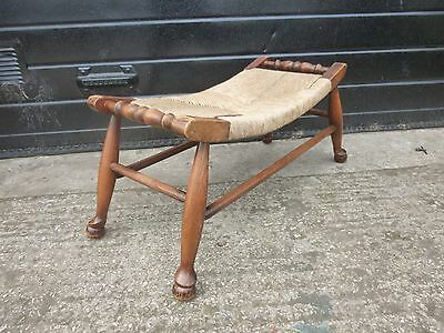 Antique Vintage Oak Wide Curved Rush Seat Bench Foot Stool