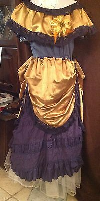 Ladies Blue and Bronze Bustle Suit Western Victorian Style Re-enactment