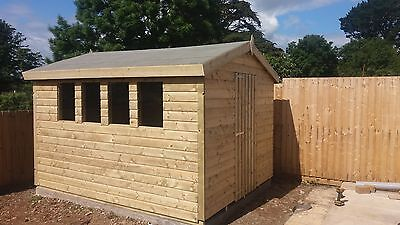 10 x 8 19mm Tanalised & Pressure Treated T&G Apex Shed, Garden Shed.