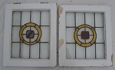 2 leaded light stained glass windows. B287. WORLDWIDE DELIVERY!