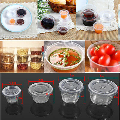 50X Disposable Transparent Plastic Sauce Chutney Cups Food Container Storage Box
