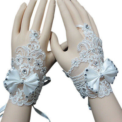 White Enchanting Lace Bow Diamond Flower Gloves wedding Bridal Holy Bowknot