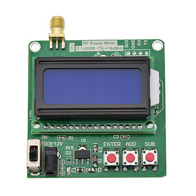 Digital LCD RF Power Meter -75-16 dBm 1-600MHz Radio Frequency Attenuation Value