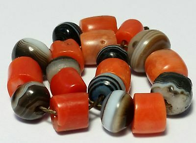 A Beautiful Strand Of Ancient Suleimani Agate & Antique Natural Coral Beads
