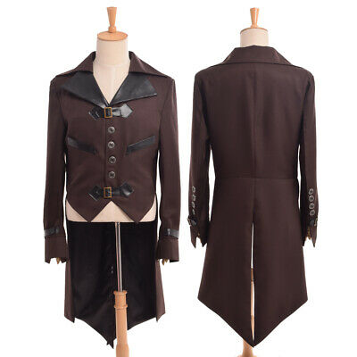 Homme Swallow-Tailed Manteau Victorien Steampunk Aviateur Cosplay Costumes Collé