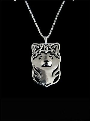 Akita Dog Pendant Necklace Silver ANIMAL RESCUE DONATION