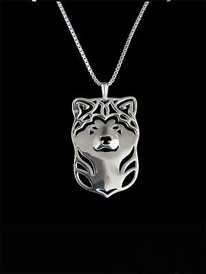 Akita Dog Pendant Necklace Silver Tone Animal Rescue Donation