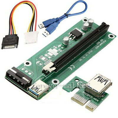 6 Pack PCI-E Express 1x To 16x Extender Riser Card Adapter USB 3.0 Power Cable