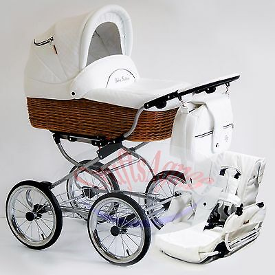 Wicker  Classic Pram Stroller Pushchair Baby 2in1 Travel System eco-leather 01