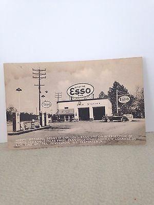 1940S Pc Esso Gas Station Rts 130 & 40 Deepwater New Jersey W/signs/gas Pumps