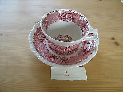 Adams  Red English Scenic Cup & Saucer - Country scene with Horses