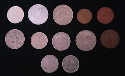 12 x Assorted World Coins 1948 - 1976 Japan Italy USA Netherlands Thailand