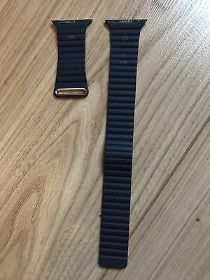 Genuine Apple Midnight Blue Loop Leather Watch Strap 42mm Large Official Orignal
