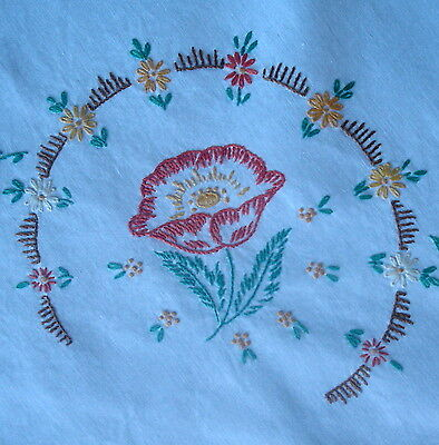 Vintage Hand Embroidered Poppies & Hand Crochet Lace Edge White Linen Tablecloth