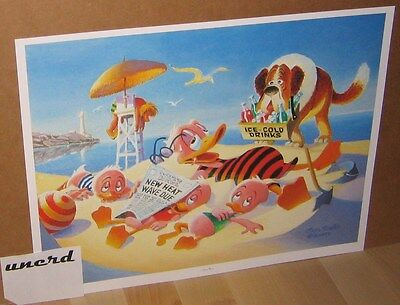 Carl Barks Kunstdruck: Heat Wave - Donald Duck, Nephews Art Print