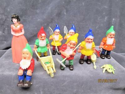 Vintage Lot Of Snow White And The Seven Dwarfs Cake Topper Pieces