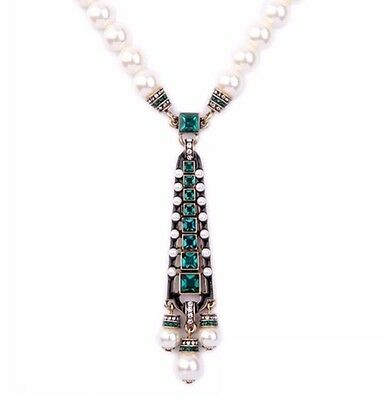 EMERALD GREEN CLEAR RHINESTONE WHITE PEARL BEADED Gold Art Deco Pendant Necklace