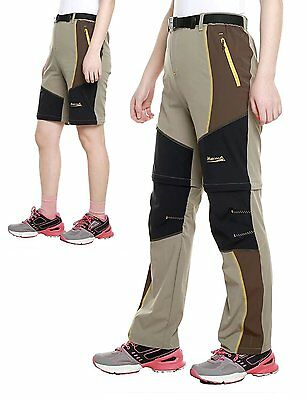 "Kids Lightweight Hiking Pants Convertible Quick Dry Shorts by Makino  Waist 20"","
