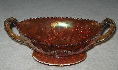 "Vintage Marigold Carnival Glass Serving Bowl, Handled,  8"" x 4 1/2"" x 3""  LWD"