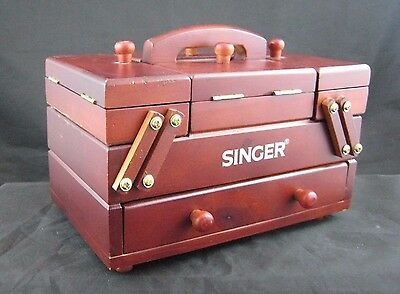 Vintage SINGER Accordian-Style Fold-Out Wooden Sewing Box w/Thread