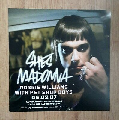 Robbie Williams / Pet Shop Boys - She's Madonna - 2 Sided Promo Flat Poster Rare