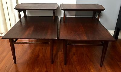 2 Tiered Danish Wood Mid Century Nightstands End Tables Walnut Minimalist Basset