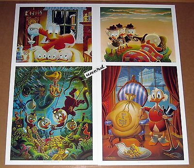 Carl Barks Kunstdruck: Set mit 4 Motiven - Blizzard Tonight, Rude Awakening etc.