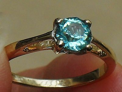 LOVELY ART DECO FINE 1.50ct BLUE ZIRCON SOLITAIRE 9ct YELLOW GOLD RING