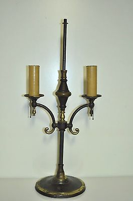 Vintage Antique Brass Candle Stick Double Arm Sconces Desk Lamp
